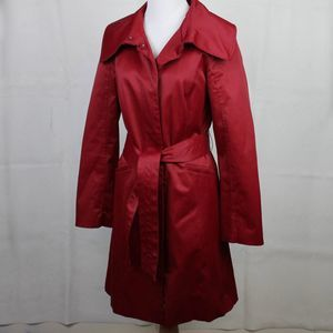 Kenneth Cole Red Sateen Trench Coat S